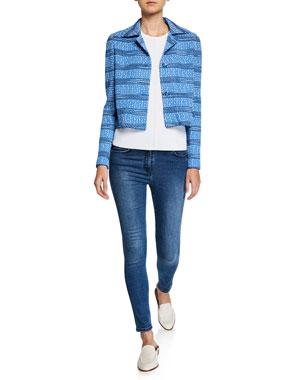 6d6c1ff39e2f St. John Collection Tweed Knit Cropped Jacket Chevron Rib Knit Shell Top  Stretch Denim Slim