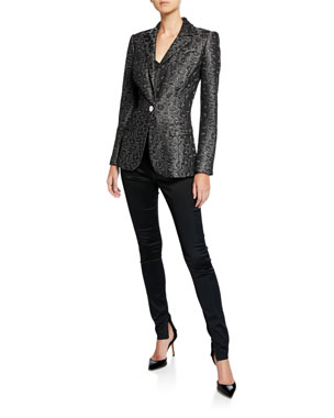 b757e2a7c89 St. John Collection Jacquard Animal-Print Sequin Jacket Sparkle Rib Knit  Shell Top Satin