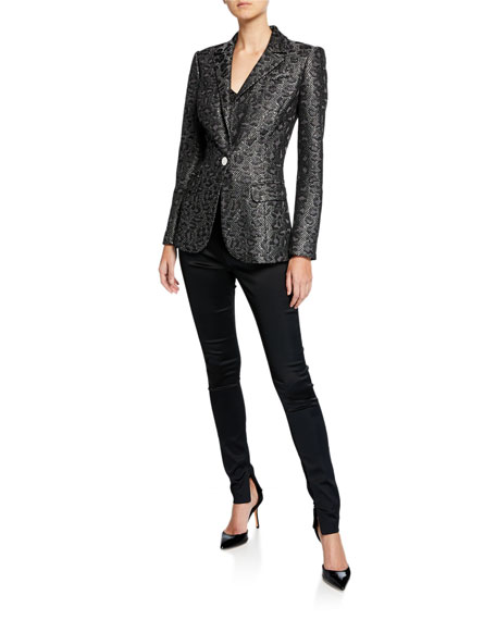 St. John Collection Jacquard Animal-Print Sequin Jacket