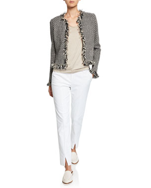 ea04b7ad81d8 St. John Collection Inlay Knit Jacket w/ Fringe Trim Silk Jersey Scoop-Neck
