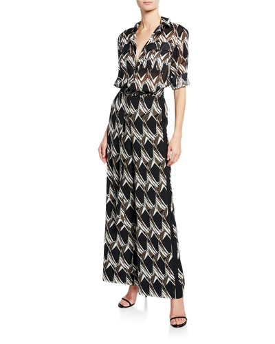 Abstract Floral Tile-Print Button-Down Long-Sleeve Georgette Tunic and Matching Items