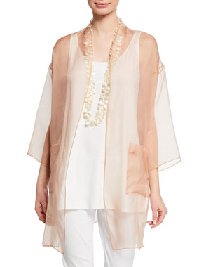 3b9544d742c Eileen Fisher Plus Size Washed Silk Organza Kimono Plus Size Sleeveless  Scoop-Neck Lightweight Jersey