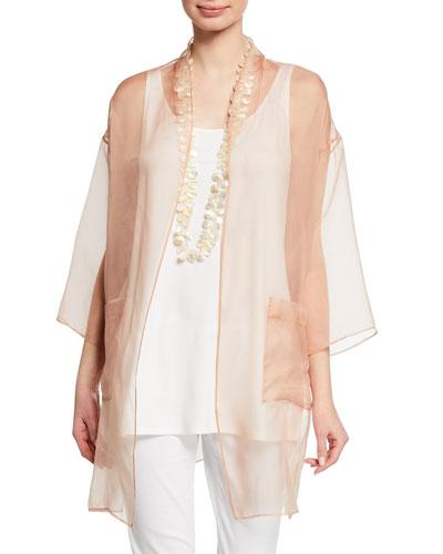 Plus Size Washed Silk Organza Kimono and Matching Items
