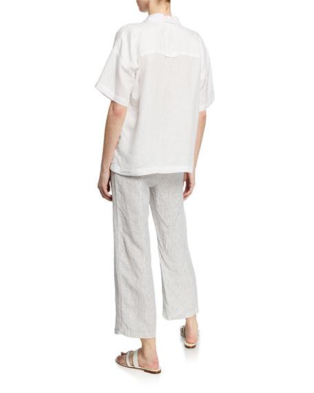 Eileen Fisher Button-Down Short-Sleeve Organic Linen Shirt