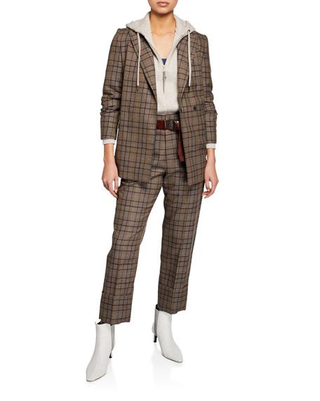 Brunello Cucinelli Hidden Button-Front Wool Cotton Jacket