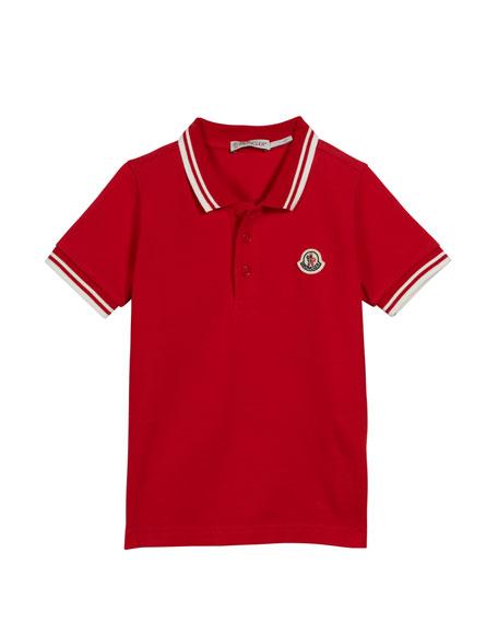 Moncler Polo Shirt w/ Striped Tipping, Size 4-6