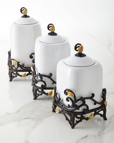 G G Collection White Stoneware Small Canister with Metal Gold Leaf Base