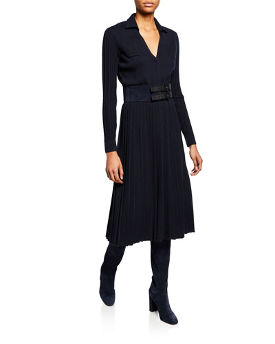 Long Pleated Knit Dress and Matching Items