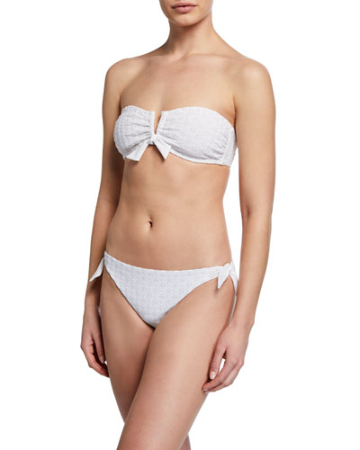 Aria Eyelet Tie-Front Bandeau Swim Top and Matching Items