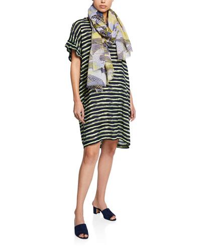 Nara Striped Short-Sleeve Shantung Dress and Matching Items