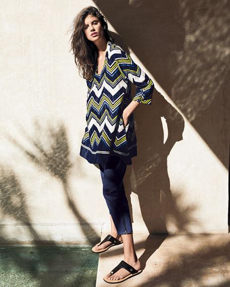 Masai Galeni Zig Zag-Printed V-Neck 3/4-Sleeve Tunic