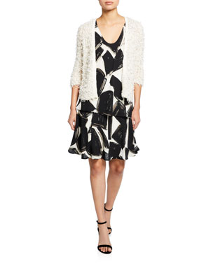 2925077bc6fb NIC+ZOE Plush Party 3 4-Sleeve Fuzzy Cardigan Nightfall Abstract-Printed