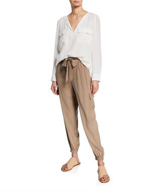 fb54f4e334f Go Silk Petite Silk Flap-Pocket Top Petite Belted Silk Cargo Pants