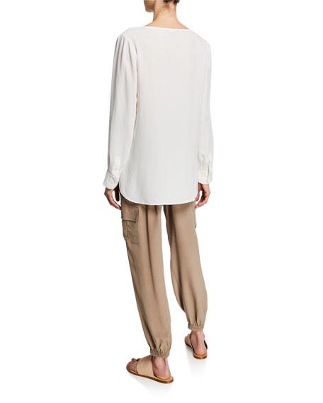 Go Silk Plus Size Silk Flap-Pocket Top