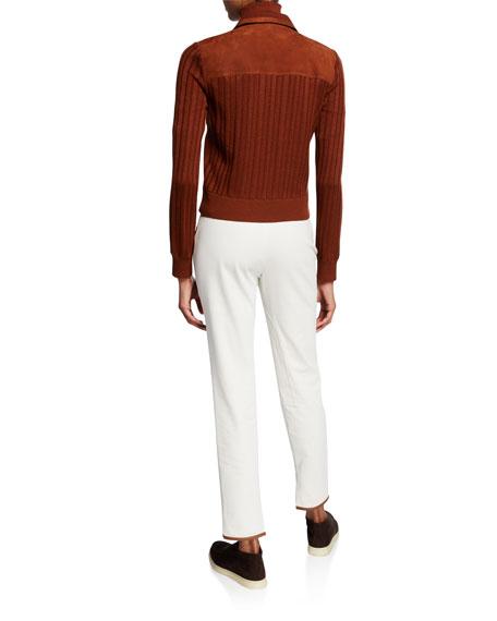 Loro Piana Cashmere-Silk Mock-Neck 3/4-Sleeve Sweater