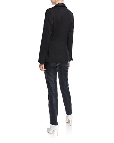 Piazza Sempione Textured Stretch-Wool Blazer with Faux-Leather Trim