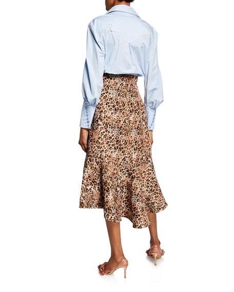 Johanna Ortiz Ruched-Sleeve Western Style Shirt