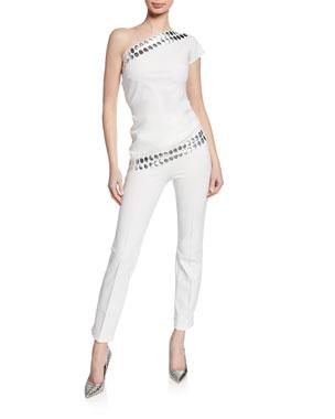 b0ffe753eb8 Chiara Boni La Petite Robe Valdis One-Shoulder Asymmetric Top Nuccua  Cropped Pants