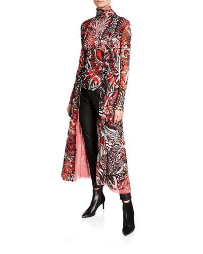 Long Mystical-Print Cardigan and Matching Items