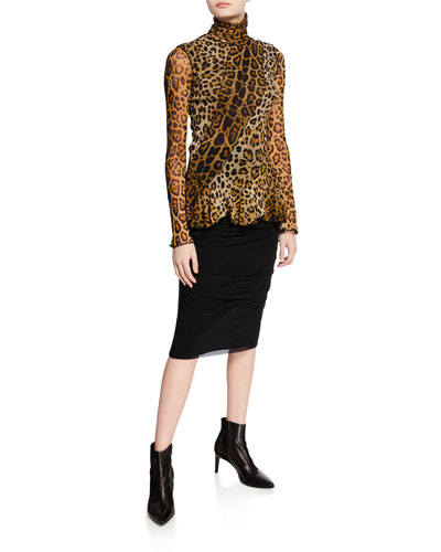 Leopard-Print Turtleneck Long-Sleeve Peplum Top and Matching Items