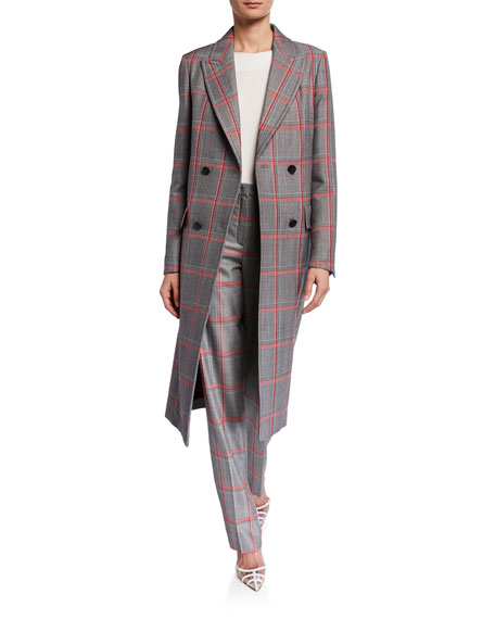 Escada Glen Plaid Double-Breasted Trench Coat