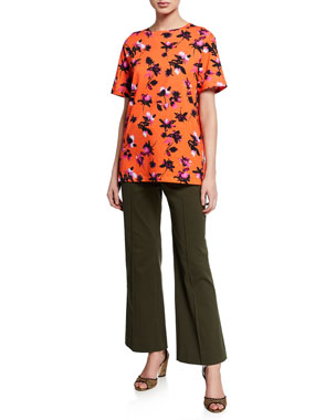 a167a247384 Derek Lam Short-Sleeve Floating Floral Print T-Shirt Cropped Flare-Leg  Trousers