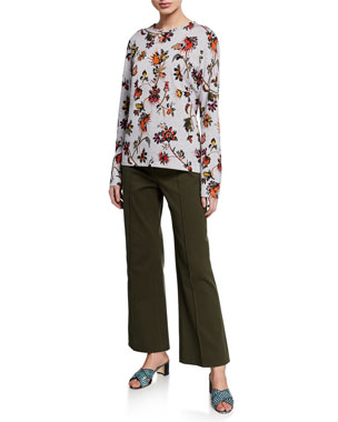 7e32df92e30 Derek Lam Long-Sleeve Indian Floral Print T-Shirt Cropped Flare-Leg Trousers