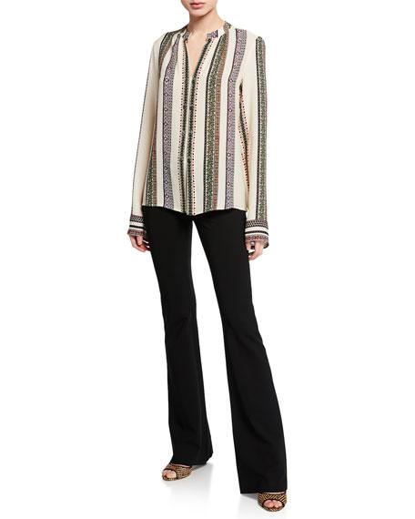 Derek Lam Kara Provencal Striped Button Blouse