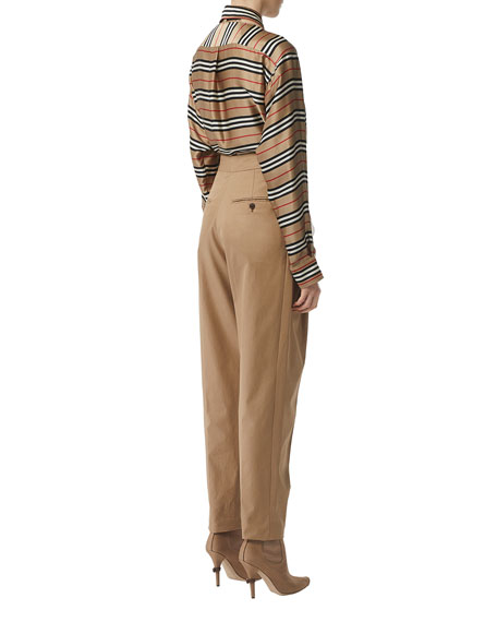 Burberry Striped Button-Front Boyfriend Shirt