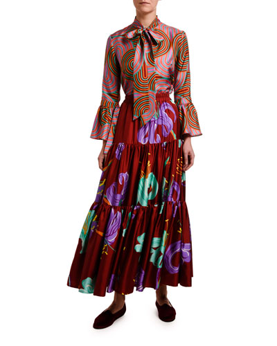 Happy Wrist Tie-Neck Coil-Print Blouse and Matching Items