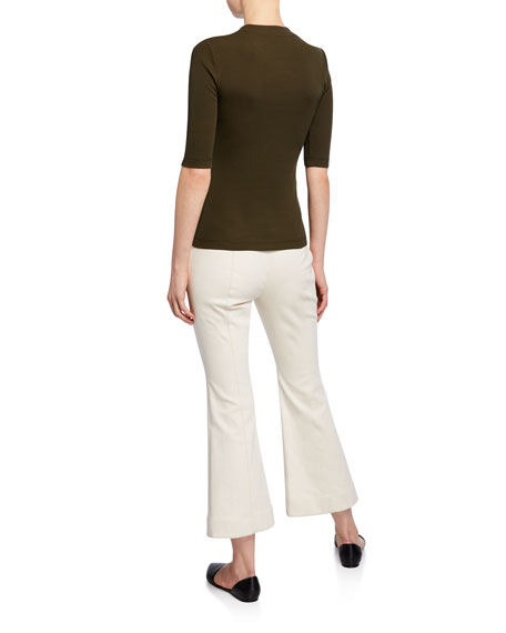 Rosetta Getty 1/2-Sleeve Fitted T-Shirt