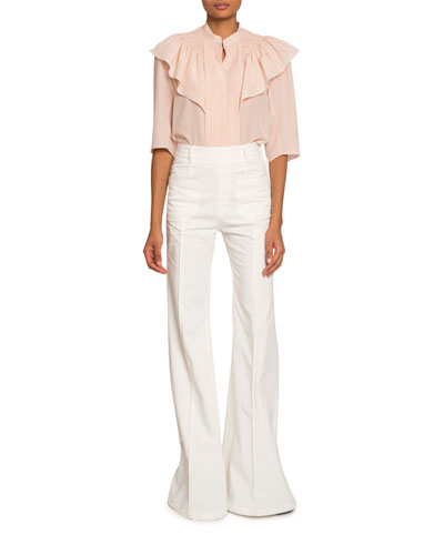 High-Neck Bibbed Crepe de Chine Blouse and Matching Items
