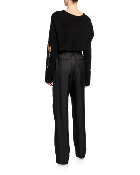 Sally LaPointe Embroidered Cashmere/Silk Boxy Sweater