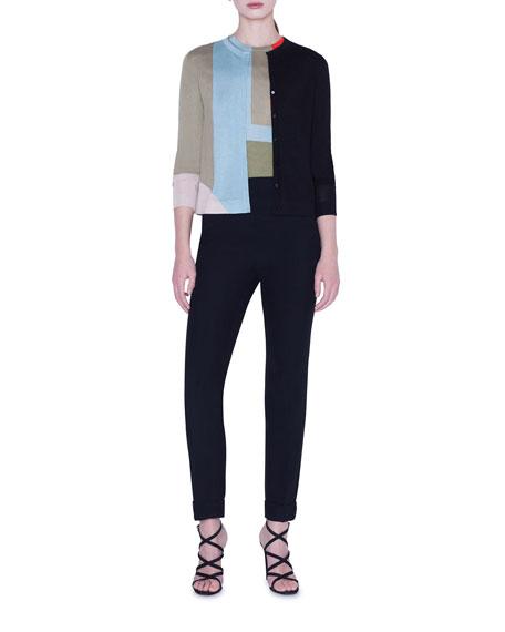 Akris Indian Summer Colorblock Cashmere-Silk Intarsia Cardigan