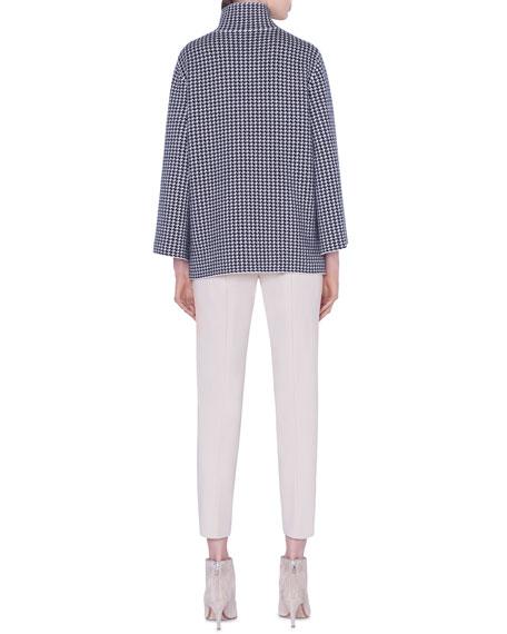 Akris Cashmere-Silk Houndstooth Jacquard Sweater