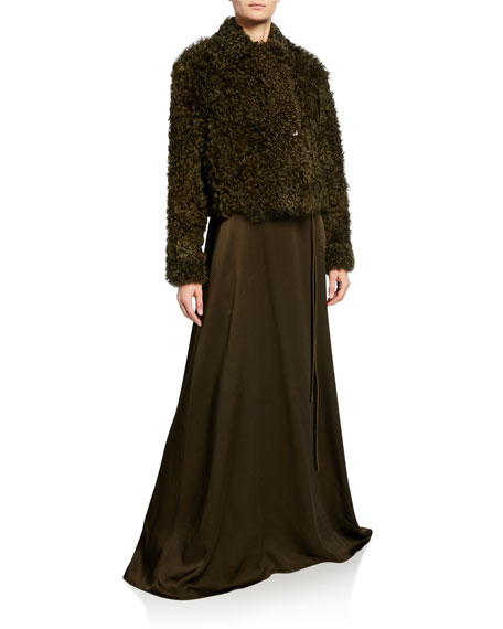 Rosetta Getty Cropped Shearling Fur Peacoat