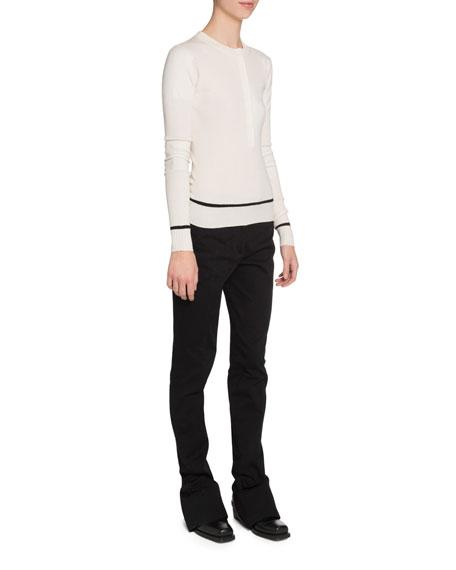 Proenza Schouler Ribbed Silk-Cashmere Henley Sweater