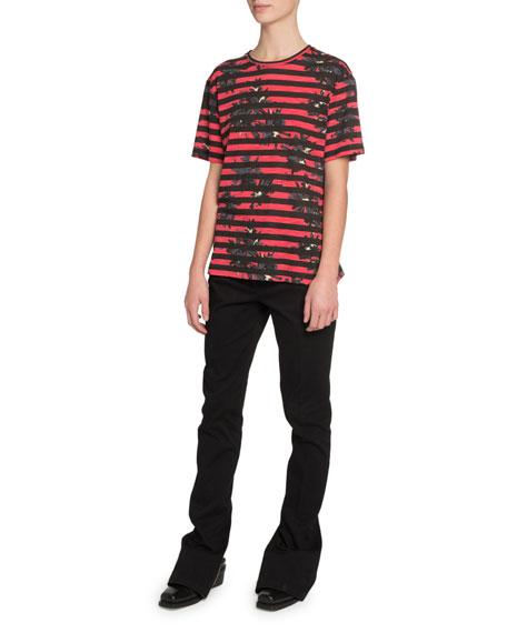 Proenza Schouler Long-Sleeve Splattered-Floral-Print T-Shirt, Red