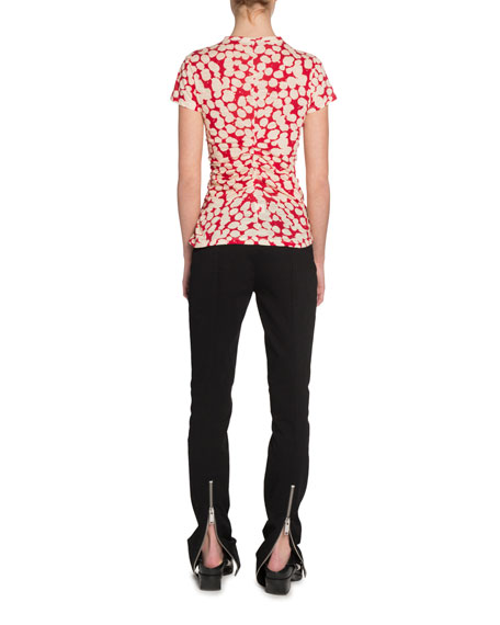 Proenza Schouler Painted Dot Cinched Short-Sleeve T-Shirt