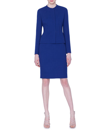 Akris Abadin Wool-Crepe Darted Jacket