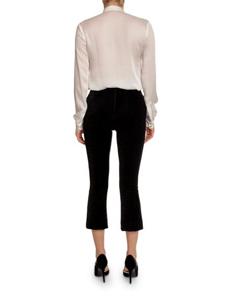 Balmain Silk 2-Pocket Button-Front Blouse