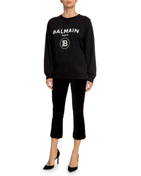 Balmain Flocked-Logo Crewneck Sweatshirt