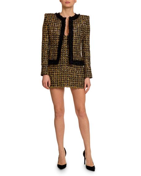 Balmain Metallic Tweed Open-Front Jacket