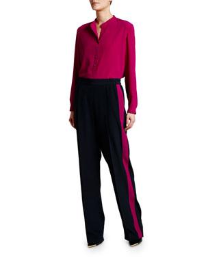 e4e7a9167 Stella McCartney Eva Long-Sleeve Henley Blouse Racer Side-Striped Pull on  Pants