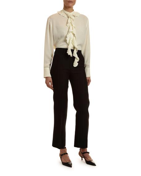 Valentino Long-Sleeve Georgette Crinkled Blouse