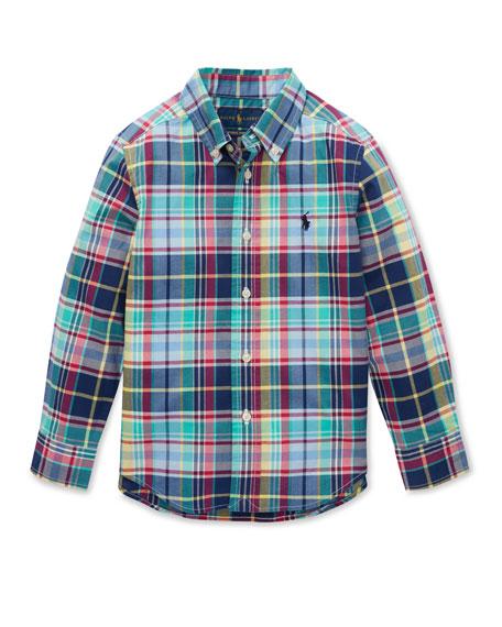 Ralph Lauren Childrenswear Button-Down Collar Plaid Shirt, Size 2-4