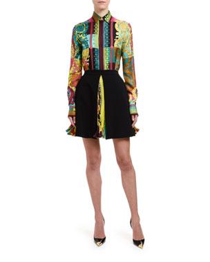ce6e1064b5a Versace Greca Silk Button-Front Blouse Plisse Print Inset Skirt