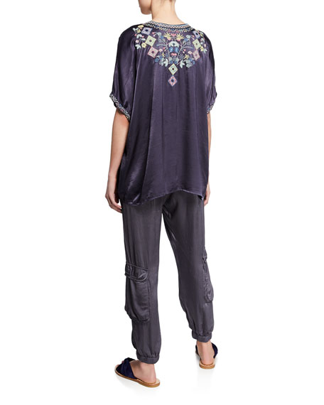 Johnny Was Plus Size Hendaya Embroidered Lace-Up Blouse