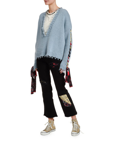 Cropped Cashmere Sweater with Silk Lacing and Matching Items