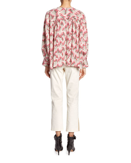 Isabel Marant Amba Long-Sleeve Abstract Blouse